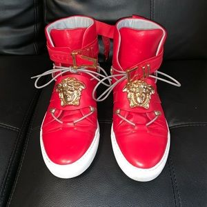 Authentic Red Leather Versace High Top Sneakers